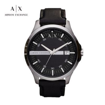 A│X ARMANI EXCHANGE HAMPTON 漢普頓菁英黑色真皮男錶-46mm(AX2101)