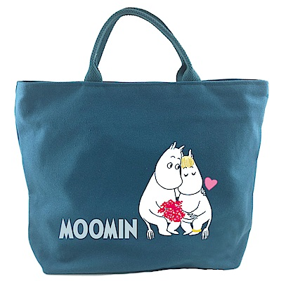 【Moomin】 03拉鍊帆布包(藍-小)