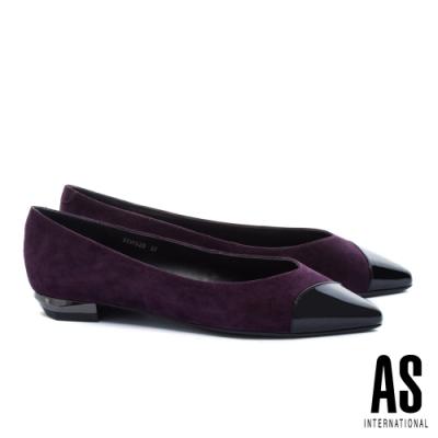 低跟鞋 AS 純熟韻味異材質拼接全真皮尖頭低跟鞋-紫