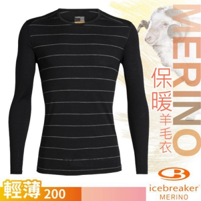 Icebreaker 男 200 Oasis美麗諾羊毛輕薄款長袖圓領上衣_黑條紋/白