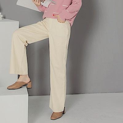 純色高含棉直筒落地寬褲-OB大尺碼