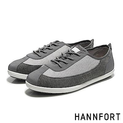 HANNFORT CALIFORNIA細緻網花純棉帆布鞋-女-海鷗灰