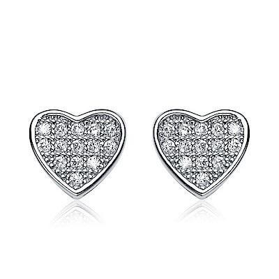 米蘭精品 925純銀耳環-心形鑲嵌鋯石耳環
