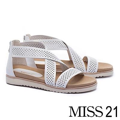 涼鞋 MISS 21 玩味幾何沖孔交叉帶造型全真皮厚底涼鞋-白