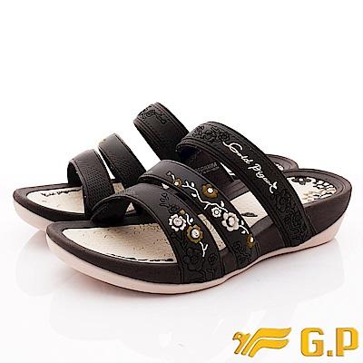 GP時尚涼拖  雕花亮鑽拖鞋款-NI068W-30咖啡色(女段)