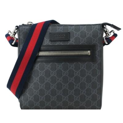 GUCCI Supreme 防刮PVC紅藍條紋背帶拉鍊斜背包(黑灰)