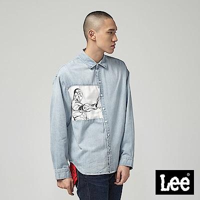 Lee X Marvel聯名牛仔長袖襯衫-藍