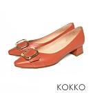 KOKKO - 復古時尚小方頭羊皮梯型粗跟-磚橘