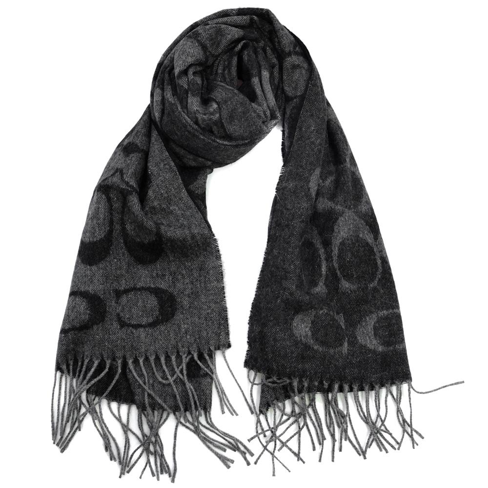 COACH灰黑C Logo大字羊毛混兔毛絲絨保暖長圍巾(195x50cm)COACH