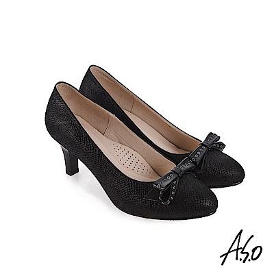 A.S.O 義式簡約 蝴蝶結飾釦高跟鞋 黑