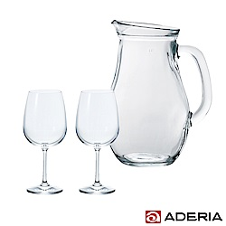 ADERIA 日本進口把手玻璃酒瓶1L附日本進口紅酒對杯