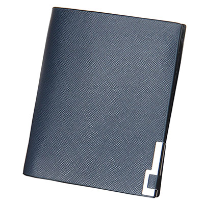 A+ accessories 十字紋硬皮鐵角護邊多卡男用短夾(藍色)