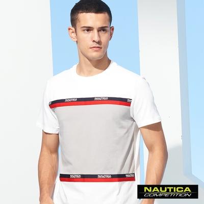 Nautica COMPETITION男裝撞色織帶運動休閒短袖T恤-白
