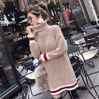 DABI 韓系高領拼色條紋粗毛線長袖洋裝
