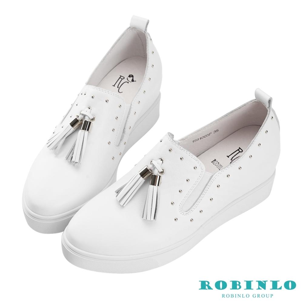 Robinlo 知性典雅鑲珠牛皮內增高休閒鞋 白色