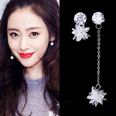 梨花HaNA 無耳洞韓國冰晶雪花長短不對襯耳環夾式