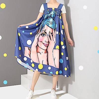 亮彩波點吸睛插圖吊帶圓裙-(藍色)Andstyle