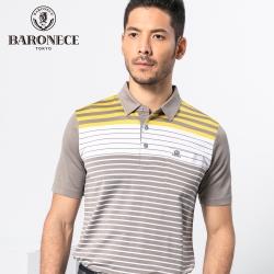 BARONECE 百諾禮士休閒商務  男裝 吸濕排汗條紋短袖POLO衫-黃褐色(1188284-95)