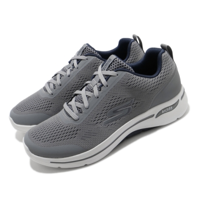 Skechers 慢跑鞋 Go Walk Arch Fit 男鞋 運動 健走 緩震 透氣瑜珈鞋墊 灰 藍 216116GYNV