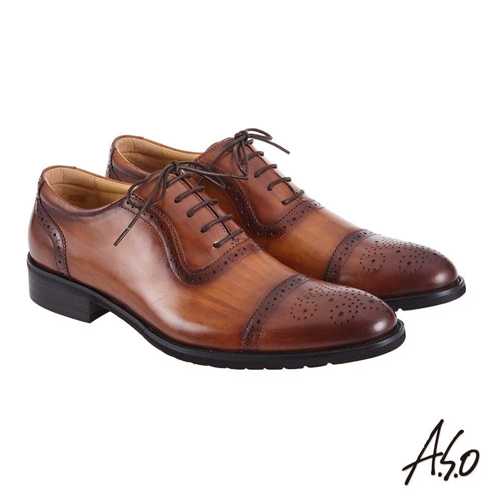A.S.O 職場通勤 萬步健康鞋 內耳式綁帶款紳士鞋-茶