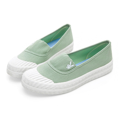 PLAYBOY 簡約丹寧帆布餅乾鞋-綠-Y5208DD