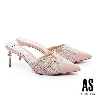 拖鞋 AS 優雅氣質雙色異材質拼接尖頭穆勒高跟拖鞋-粉