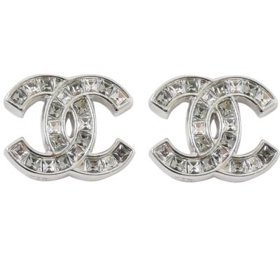 CHANEL 經典雙C LOGO鑲方型水鑽耳環(銀)