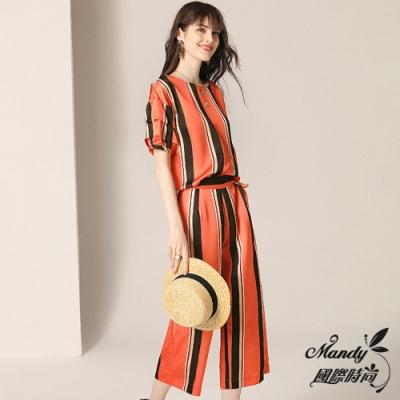 Mandy國際時尚 巴黎經典條紋上衣+九分闊腿褲兩件套裝