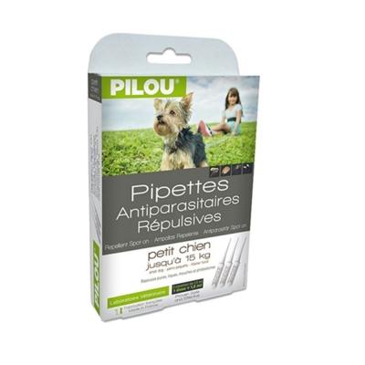 法國皮樂Pilou第二代加強升級-非藥用除蚤蝨滴劑-幼/小型犬用(3支各1.5ml-5kg以下兩盒組