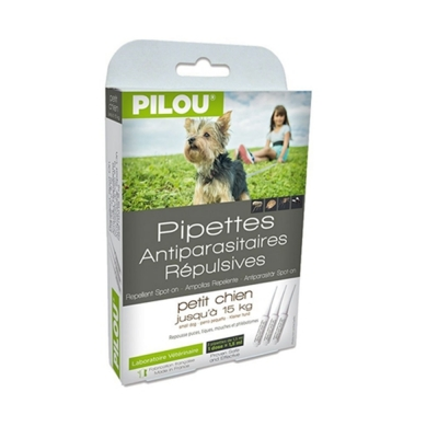 法國皮樂Pilou第二代加強升級-非藥用除蚤蝨滴劑-幼/小型犬用(3支各1.5ml-5kg以下)