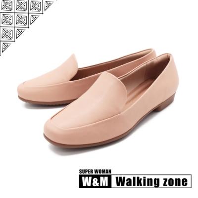 WALKING ZONE SUPER WOMAN系列 百搭方頭平底樂福鞋 女鞋-卡其(另有白.黑)