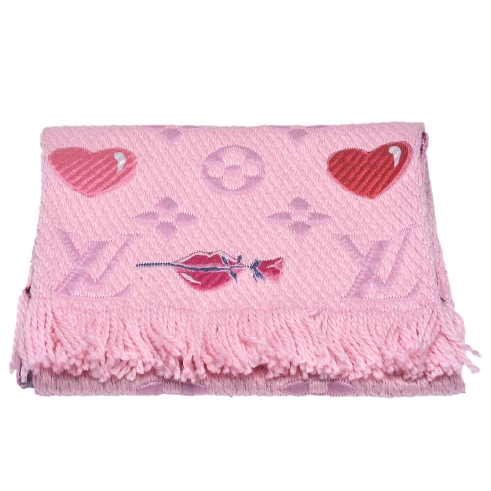LV M71587 A LA FOLIE雙面浪漫圖案織花羊毛針織圍巾(粉紅)