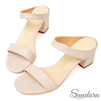 山打努SANDARU-拖鞋 韓版簡約一字帶高跟拖鞋-米