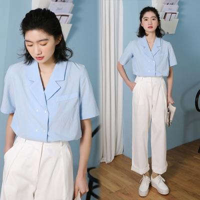 【韓國K.W.】(預購)歐美寬鬆素面襯衫-1色
