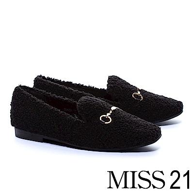 平底鞋 MISS 21 純色泰迪捲毛金屬飾釦平底鞋-黑