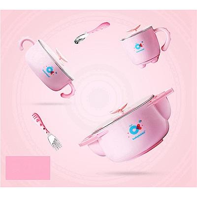 babyhood 不鏽鋼保溫兒童餐具5件組-粉色