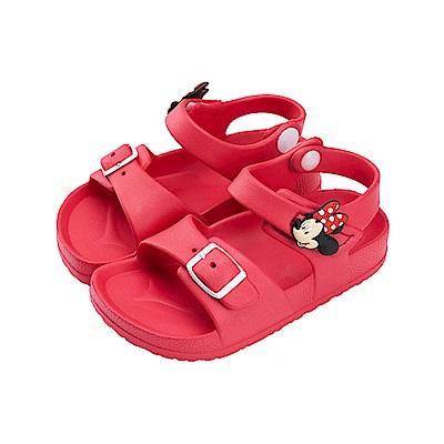 迪士尼童鞋 米妮 魔鬼氈防水休閒涼鞋-紅