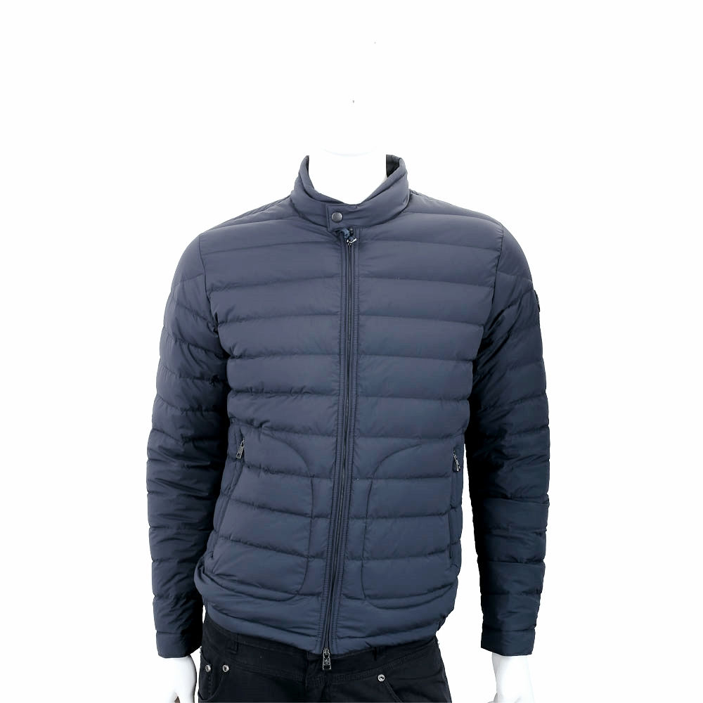 MONCLER 絎縫立領單釦深藍色拉鍊羽絨外套(男款)
