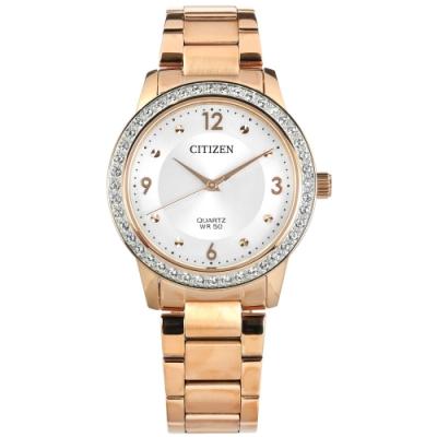 CITIZEN 晶鑽 礦石強化玻璃 日本機芯 不鏽鋼手錶-銀x鍍玫瑰金/35mm