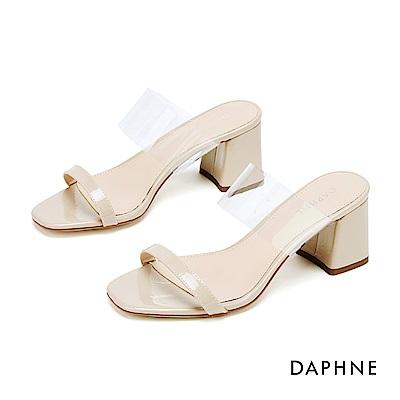 達芙妮DAPHNE 涼鞋-摩登漆皮拚接透明PVC鏤空粗跟涼拖鞋-杏色