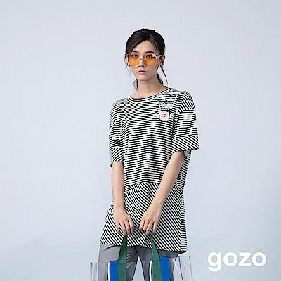 gozo 繡線筆刷插畫印花條紋長版上衣(二色)