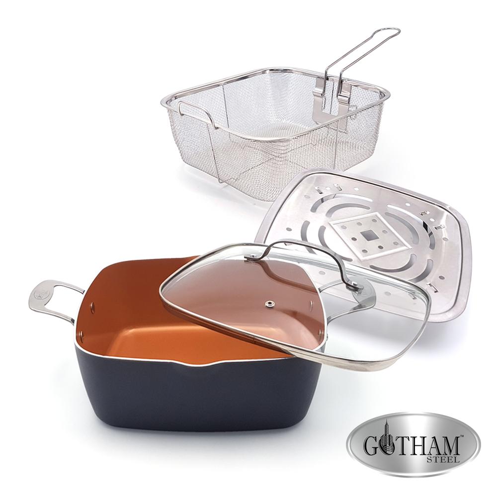 美國GOTHAM鈦金陶瓷多功能不沾鍋具組(28cm附蓋、蒸架、油炸籃)