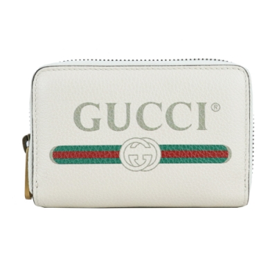 GUCCI PRINT系列LOGO紅綠織帶標誌小牛皮卡片/零錢夾(白)