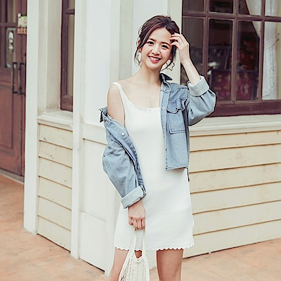 iMODA STAR-臧芮軒。純色針織花瓣領長版背心/洋裝