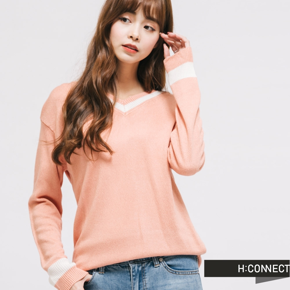 H:CONNECT 韓國品牌 女裝 -細緻滾邊薄針織上衣-粉