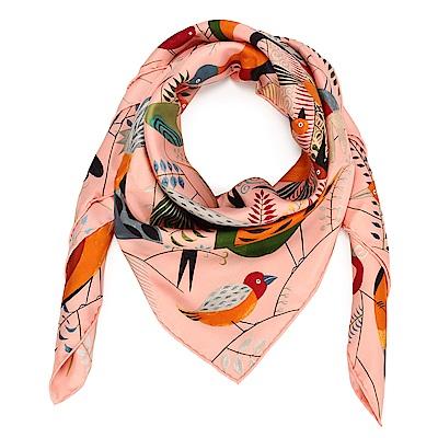 HERMES Bal Des Oiseaux 真絲披肩方型絲巾-粉色