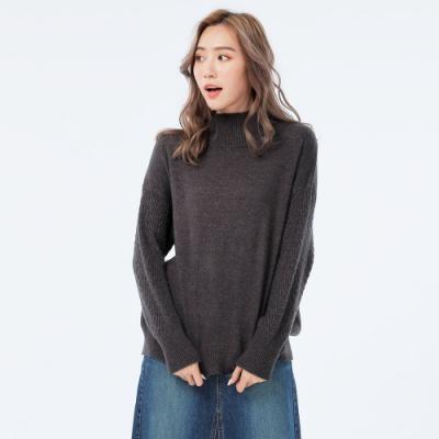 BIG TRAIN 袖緹織紋設計長袖線衫-女-深麻灰
