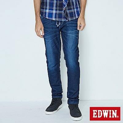 EDWIN 大尺碼AB褲 迦績JERSEYS仿紅布邊繡花牛仔褲-男-酵洗藍