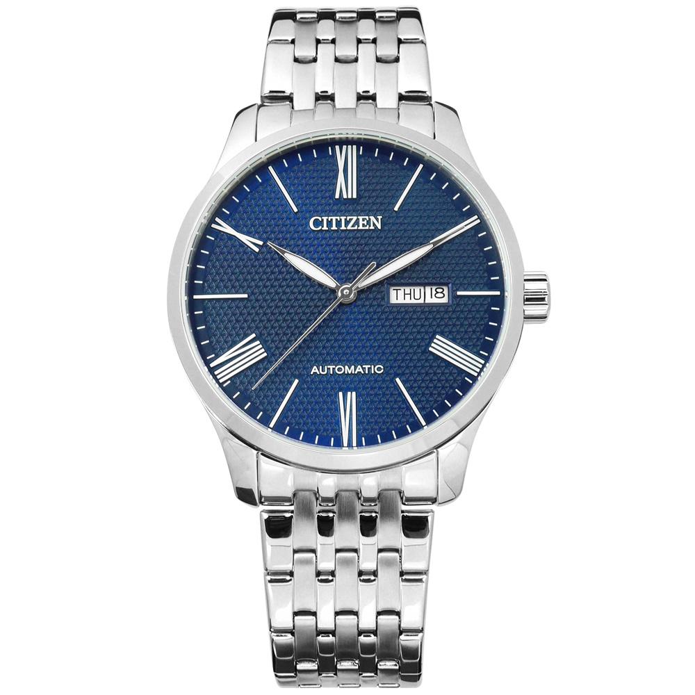 CITIZEN 限量機械錶自動上鍊日期星期不鏽鋼手錶-藍色/40mm