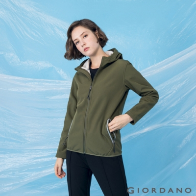 GIORDANO 女裝高機能素色連帽外套 - 49 橄欖綠